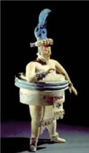 O azul dessa antiga figura mexicana é um nanocomposto de uma argila porosa e um piguimento orgânico. O nanopigmento é hoje vendido como Mayacrom® e toma o lugar dos compostos com tóxicos metais pesados.